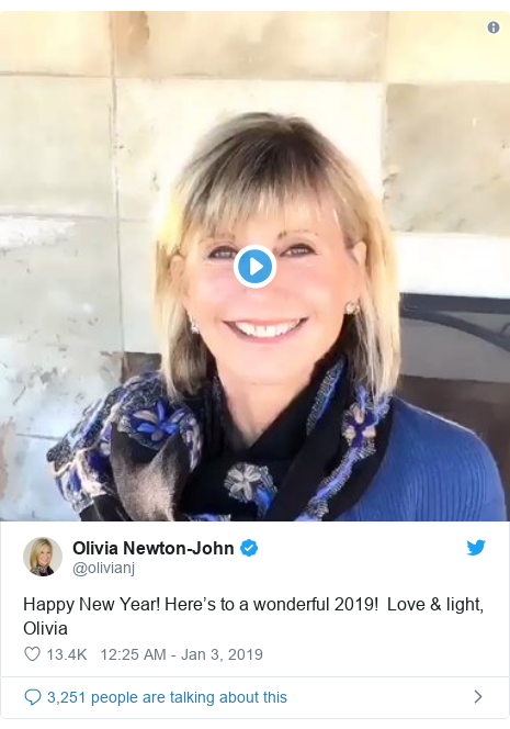 Twitter post by @olivianj: Happy New Year! Here's to a wonderful 2019!  Love & light, Olivia