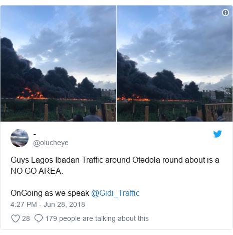 Twitter post by @olucheye: Guys Lagos Ibadan Traffic around Otedola round about is a NO GO AREA.OnGoing as we speak @Gidi_Traffic