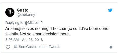 Twitter post by @oludanny: An emoji solves nothing. The change could've been done silently. Not so smart decision there.