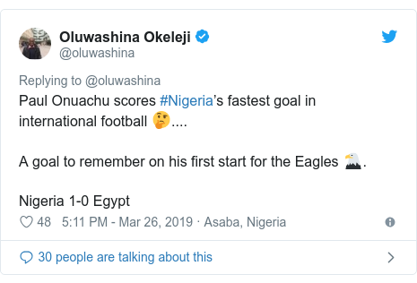Twitter post by @oluwashina: Paul Onuachu scores #Nigeria's fastest goal in international football 🤔.... A goal to remember on his first start for the Eagles 🦅.Nigeria 1-0 Egypt