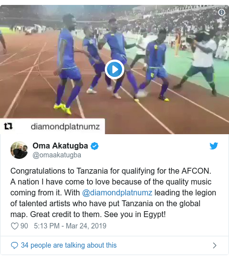 Twitter post by @omaakatugba: Congratulations to Tanzania for qualifying for the AFCON. A nation I have come to love because of the quality music coming from it. With @diamondplatnumz leading the legion of talented artists who have put Tanzania on the global map. Great credit to them. See you in Egypt!