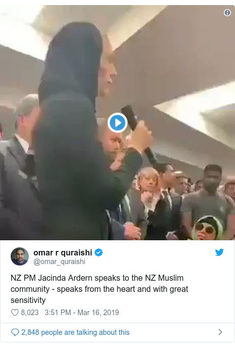 Twitter post by @omar_quraishi: NZ PM Jacinda Ardern speaks to the NZ Muslim community - speaks from the heart and with great sensitivity