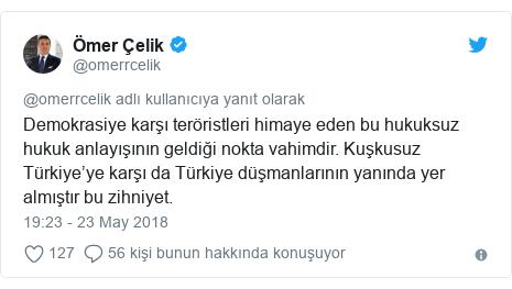@omerrcelik tarafından yapılan Twitter paylaşımı: Demokrasiye karşı teröristleri himaye eden bu hukuksuz hukuk anlayışının geldiği nokta vahimdir. Kuşkusuz Türkiye'ye karşı da Türkiye düşmanlarının yanında yer almıştır bu zihniyet.