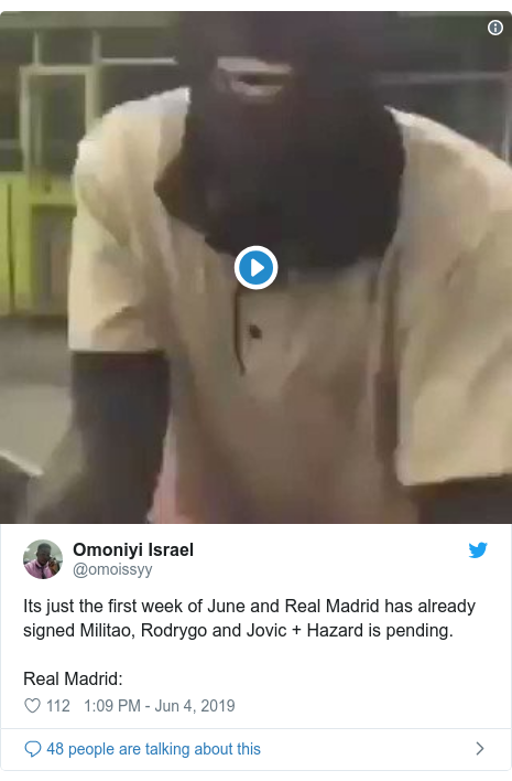 Twitter post by @omoissyy: Its just the first week of June and Real Madrid has already signed Militao, Rodrygo and Jovic + Hazard is pending. Real Madrid