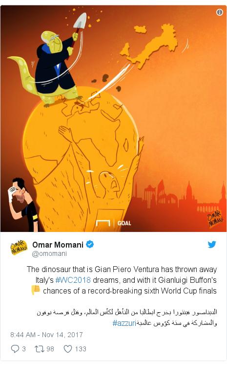 Twitter post by @omomani: The dinosaur that is Gian Piero Ventura has thrown away Italy's #WC2018 dreams, and with it Gianluigi Buffon's chances of a record-breaking sixth World Cup finals 👎الديناصور فينتورا يخرج ايطاليا من التأهل لكأس العالم، وقتل فرصة بوفون والمشاركة في ستة كؤوس عالمية#azzuri