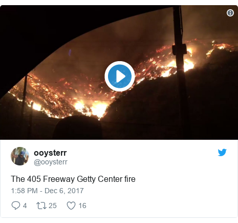 Twitter post by @ooysterr: The 405 Freeway Getty Center fire