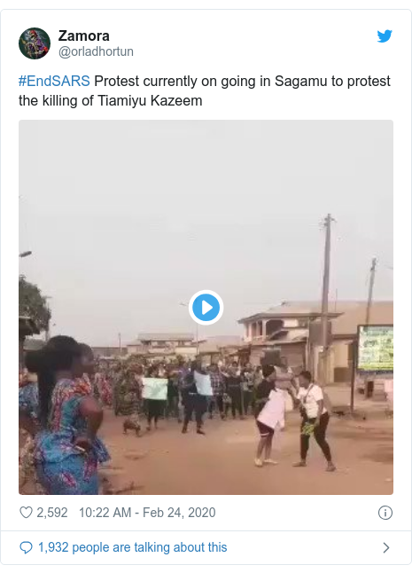 Twitter post by @orladhortun: #EndSARS Protest currently on going in Sagamu to protest the killing of Tiamiyu Kazeem