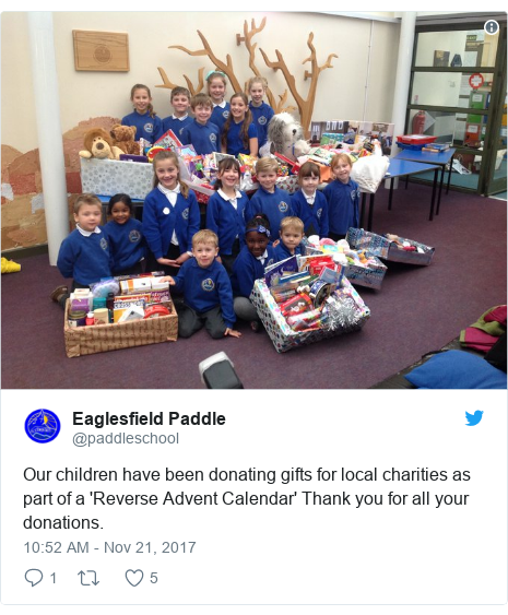Twitter post by @paddleschool: Our children have been donating gifts for local charities as part of a 'Reverse Advent Calendar' Thank you for all your donations.