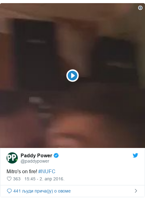 Twitter post by @paddypower: Mitro's on fire! #NUFC