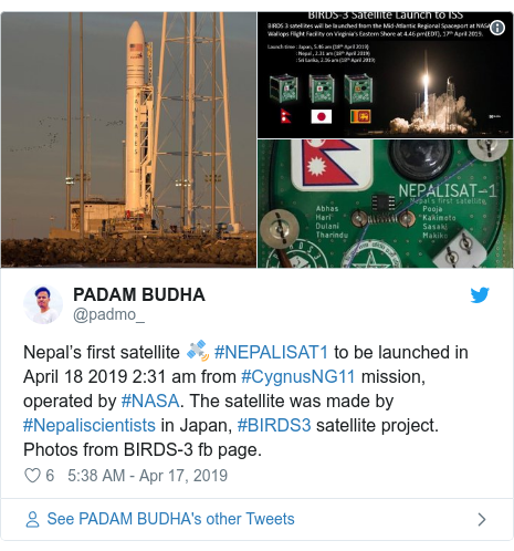 Twitter post by @padmo_: Nepal's first satellite 🛰 #NEPALISAT1 to be launched in April 18 2019 2 31 am from #CygnusNG11 mission, operated by #NASA. The satellite was made by #Nepaliscientists in Japan, #BIRDS3 satellite project. Photos from BIRDS-3 fb page.