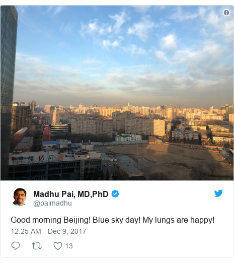 Twitter post by @paimadhu: Good morning Beijing! Blue sky day! My lungs are happy!