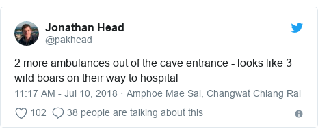 Twitter post by @pakhead: 2 more ambulances out of the cave entrance - looks like 3 wild boars on their way to hospital