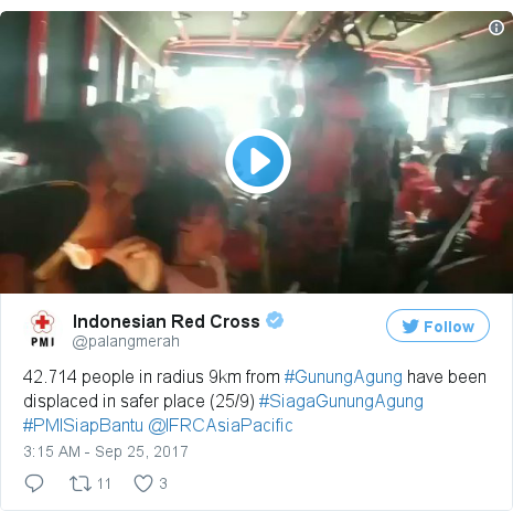 Twitter post by @palangmerah: 42.714 people in radius 9km from #GunungAgung have been displaced in safer place (25/9) #SiagaGunungAgung #PMISiapBantu @IFRCAsiaPacific pic.twitter.com/zQPlHBAgnu