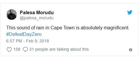 Twitter post by @palesa_morudu: This sound of rain in Cape Town is absolutely magnificent. #DefeatDayZero