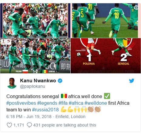Twitter post by @papilokanu: Congratulations senegal 🇸🇳 africa.well done ✅ #postivevibes #legends #fifa #africa #welldone first Africa team to win #russia2018 💪💪🙌🙌👏🏽👏🏽