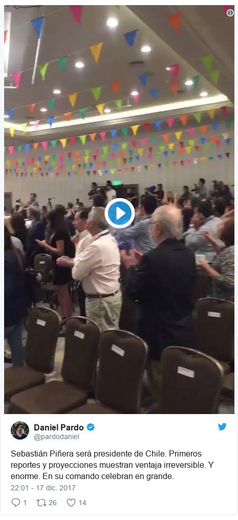 Publicación de Twitter por @pardodaniel: Sebastián Piñera será presidente de Chile. Primeros reportes y proyecciones muestran ventaja irreversible. Y enorme. En su comando celebran en grande.