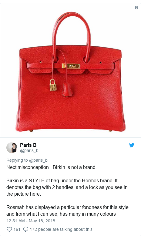 Twitter post by @paris_b: Next misconception - Birkin is not a brand.Birkin is a STYLE of bag under the Hermes brand. It denotes the bag with 2 handles, and a lock as you see in the picture here.Rosmah has displayed a particular fondness for this style and from what I can see, has many in many colours