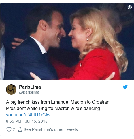 Twitter wallafa daga @parislima: A big french kiss from Emanuel Macron to Croatian President while Brigitte Macron wife's dancing -