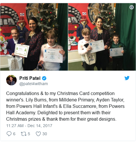 Twitter post by @patel4witham: Congratulations & to my Christmas Card competition winner's. Lily Burns, from Milldene Primary, Ayden Taylor, from Powers Hall Infant's & Ella Succamore, from Powers Hall Academy. Delighted to present them with their Christmas prizes & thank them for their great designs.