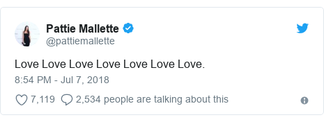 Twitter post by @pattiemallette: Love Love Love Love Love Love Love.