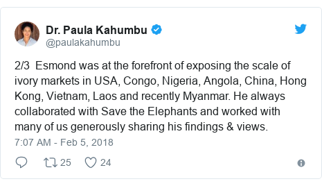 Twitter post by @paulakahumbu: 2/3  Esmond was at the forefront of exposing the scale of ivory markets in USA, Congo, Nigeria, Angola, China, Hong Kong, Vietnam, Laos and recently Myanmar. He always collaborated with Save the Elephants and worked with many of us generously sharing his findings & views.
