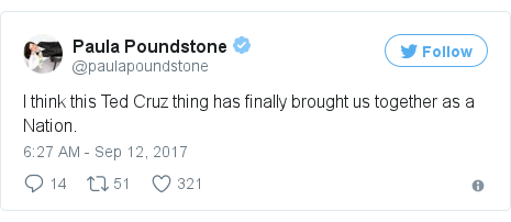 Twitter post by @paulapoundstone: I think this Ted Cruz thing has finally brought us together as a Nation.