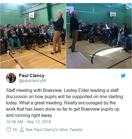 Twitter post by @paulclancy99: Staff meeting with Braeview. Lesley Elder leading a staff discussion on how pupils will be supported on line starting today. What a great meeting. Really encouraged by the work that has been done so far to get Braeview pupils up and running right away.