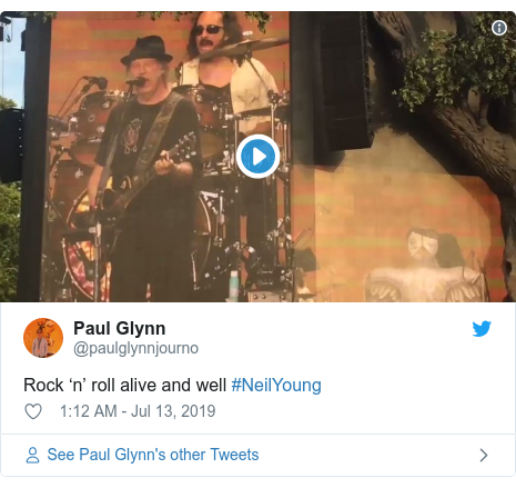 Twitter post by @paulglynnjourno: Rock 'n' roll alive and well #NeilYoung