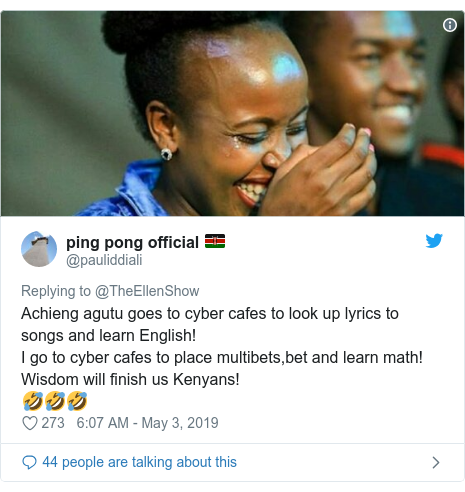 Ujumbe wa Twitter wa @pauliddiali: Achieng agutu goes to cyber cafes to look up lyrics to songs and learn English!I go to cyber cafes to place multibets,bet and learn math!Wisdom will finish us Kenyans!🤣🤣🤣