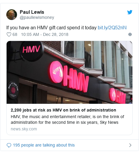 Twitter post by @paullewismoney: If you have an HMV gift card spend it today