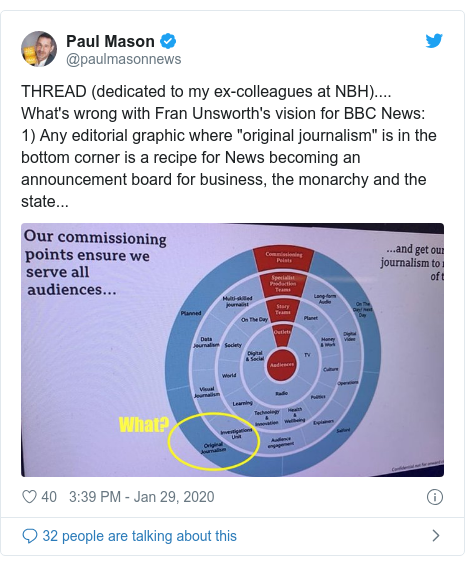 """Twitter post by @paulmasonnews: THREAD (dedicated to my ex-colleagues at NBH).... What's wrong with Fran Unsworth's vision for BBC News  1) Any editorial graphic where """"original journalism"""" is in the bottom corner is a recipe for News becoming an announcement board for business, the monarchy and the state..."""