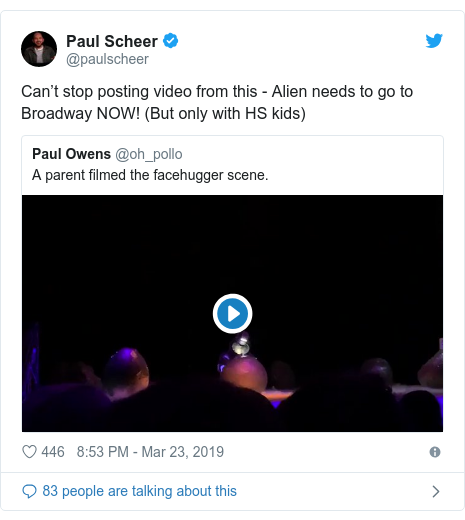 Twitter post by @paulscheer: Can't stop posting video from this - Alien needs to go to Broadway NOW! (But only with HS kids)