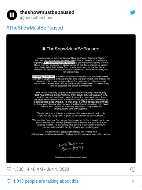 Twitter post by @pausetheshow: #TheShowMustBePaused