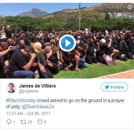 Twitter post by @pejames: #BlackMonday crowd asked to go on the ground in a prayer of unity. @TeamNews24