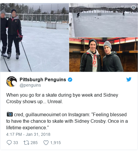 "Twitter post by @penguins: When you go for a skate during bye week and Sidney Crosby shows up... Unreal. 📷 cred, guillaumeouimet on Instagram  ""Feeling blessed to have the chance to skate with Sidney Crosby. Once in a lifetime experience."""