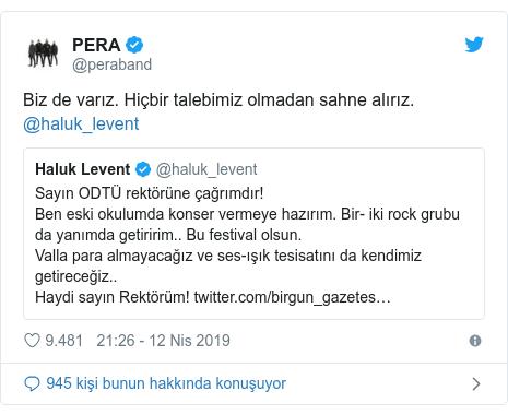 @peraband tarafından yapılan Twitter paylaşımı: Biz de varız. Hiçbir talebimiz olmadan sahne alırız. @haluk_levent
