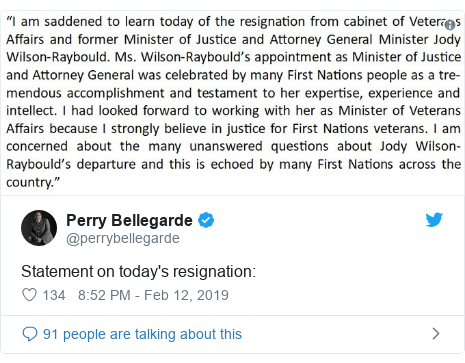 Twitter post by @perrybellegarde: Statement on today's resignation