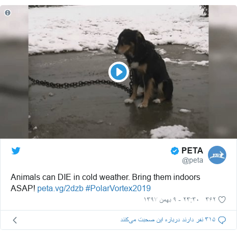 پست توییتر از @peta: Animals can DIE in cold weather. Bring them indoors ASAP!  #PolarVortex2019