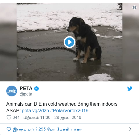 டுவிட்டர் இவரது பதிவு @peta: Animals can DIE in cold weather. Bring them indoors ASAP!  #PolarVortex2019