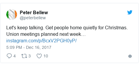 Twitter post by @peterbellew: Let's keep talking. Get people home quietly for Christmas. Union meetings planned next week…