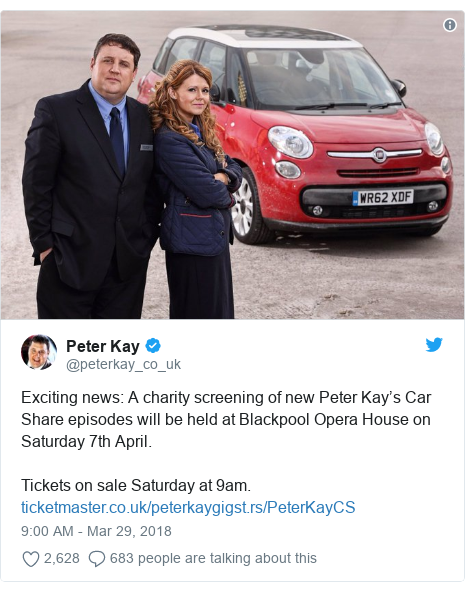 Twitter post by @peterkay_co_uk: Exciting news  A charity screening of new Peter Kay's Car Share episodes will be held at Blackpool Opera House on Saturday 7th April. Tickets on sale Saturday at 9am.