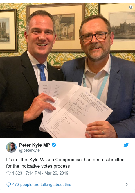 Twitter post by @peterkyle: It's in...the 'Kyle-Wilson Compromise' has been submitted for the indicative votes process