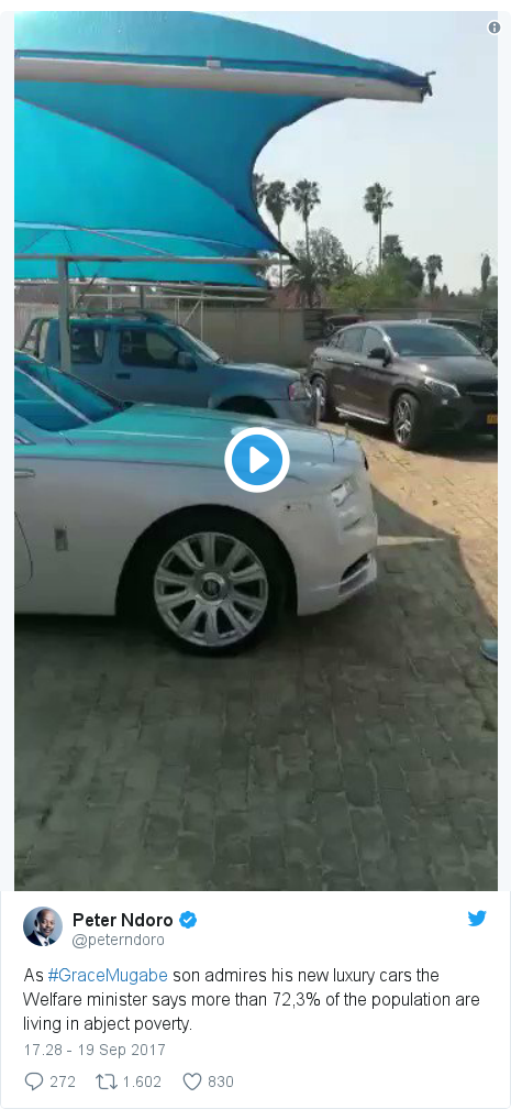 Twitter pesan oleh @peterndoro: As #GraceMugabe son admires his new luxury cars the Welfare minister says more than 72,3% of the population are living in abject poverty.
