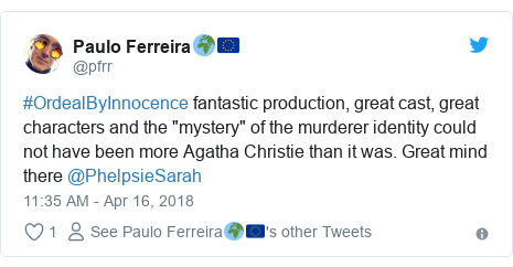 "Twitter post by @pfrr: #OrdealByInnocence fantastic production, great cast, great characters and the ""mystery"" of the murderer identity could not have been more Agatha Christie than it was. Great mind there @PhelpsieSarah"