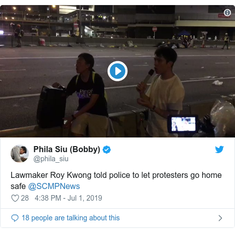 Twitter post by @phila_siu: Lawmaker Roy Kwong told police to let protesters go home safe @SCMPNews
