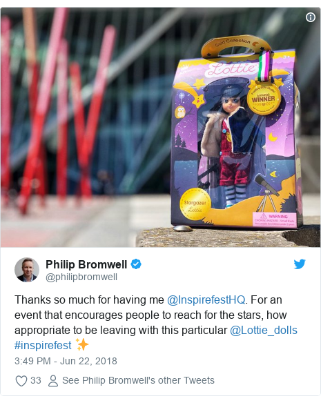 Twitter post by @philipbromwell: Thanks so much for having me @InspirefestHQ. For an event that encourages people to reach for the stars, how appropriate to be leaving with this particular @Lottie_dolls #inspirefest ✨