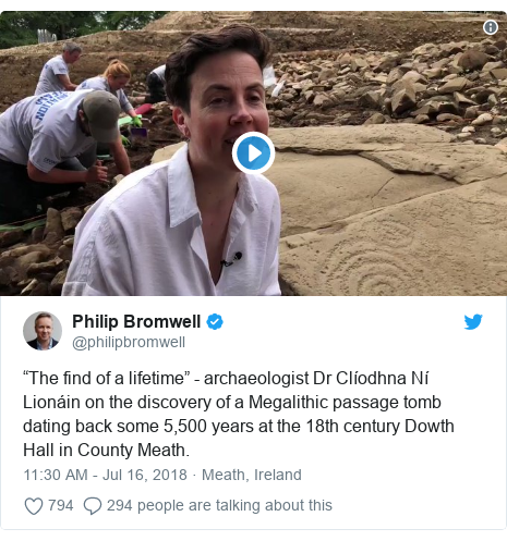 """Twitter post by @philipbromwell: """"The find of a lifetime"""" - archaeologist Dr Clíodhna Ní Lionáin on the discovery of a Megalithic passage tomb dating back some 5,500 years at the 18th century Dowth Hall in County Meath."""