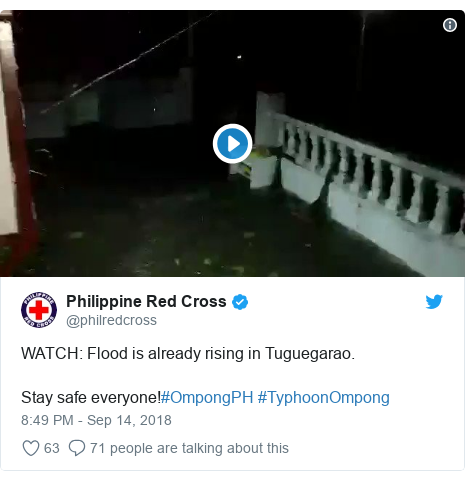 Twitter post by @philredcross: WATCH  Flood is already rising in Tuguegarao.Stay safe everyone!#OmpongPH #TyphoonOmpong