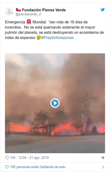 Publicación de Twitter por @piensaverde_cl: Emergencia 🚨 Mundial.  Van más de 16 días de incendios.  No se está quemando solamente el mayor pulmón del planeta, se está destruyendo un ecosistema de miles de especies 😢#PrayforAmazonas