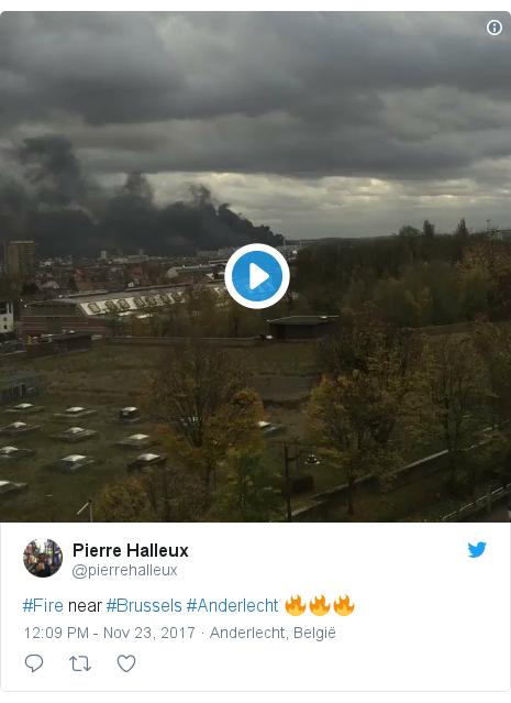 Twitter post by @pierrehalleux: #Fire near #Brussels #Anderlecht 🔥🔥🔥